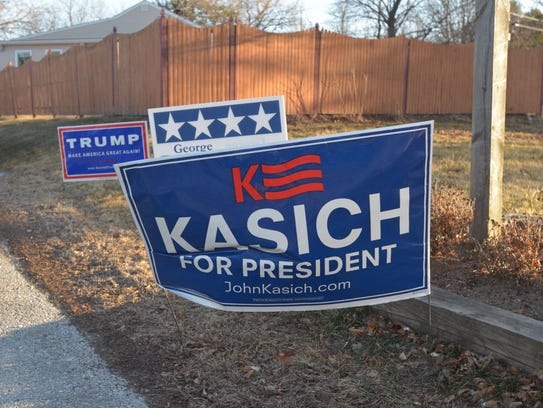 A sign for Republican presidential candidate Gov. John
