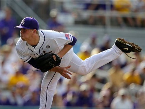 LSU pitcher Austin Bain pitches in the third inning of a game against Lehigh at the Baton Rouge Regional of the NCAA college baseball tournament in Baton Rouge Friday.