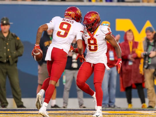 Oct 12, 2019; Morgantown, WV; Iowa State Cyclones wide receiver Joseph Scates (9) celebrates after catching touchdown pass with Iowa State Cyclones wide receiver Deshaunte Jones (8) during the fourth quarter against the West Virginia Mountaineers at Mountaineer Field at Milan Puskar Stadium. Photo Credit: Ben Queen - USA TODAY Sports