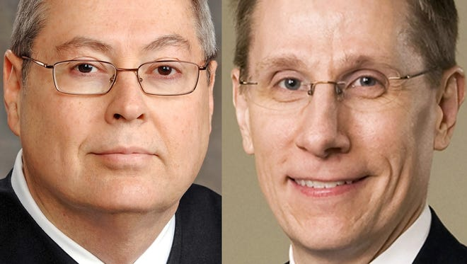 St. Joseph Superior Court Judge Steven Hostetler, left, and Indianapolis attorney Geoffrey Slaughter