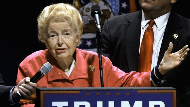 Phyllis Schlafly endorses Donald Trump at a St. Louis rally on March 11, 2016.