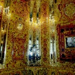 A dazzling recreation of the Amber Room is unveiled for St. Petersburg's 300th anniversary in the Catherine Palace in the suburb of Pushkin. It took 20 years to recreate the room (at a cost of $11.5 million), which was looted by the Nazis in World War II.