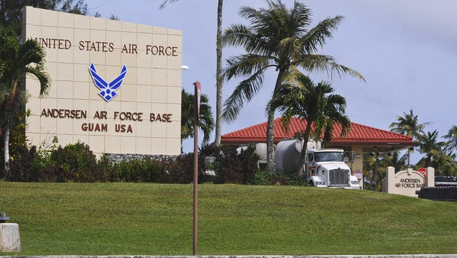 A truck is photographed as it exits the main gate of Andersen Air Force Base in Yigo in December 2013.