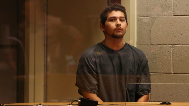 Eloy Carrera Jr., 20, of Illinois is arraigned on charges of murder, first-degree robbery and first-degree burglary on Wednesday, Aug. 3, 2016, at the Marion County Circuit Court Annex in Salem.