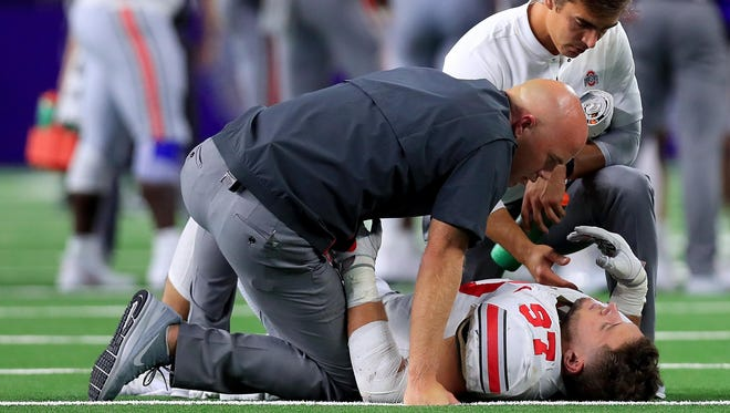 Ohio State's All-American defensive end Nick Bosa was injured in the game against TCU.