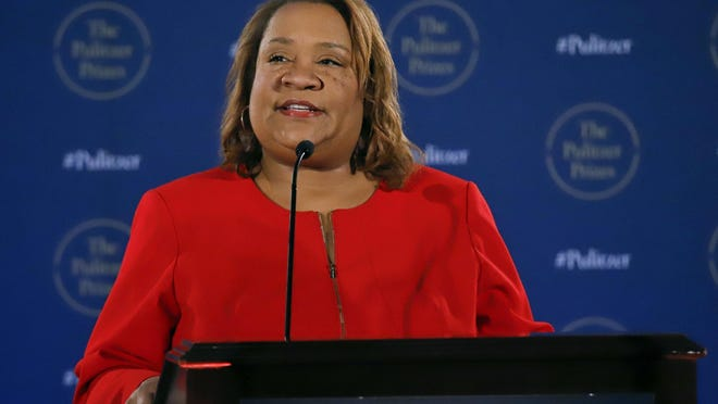 Dana Canedy announces the Pulitzer Prize winners in New York in 2018. Canedy has been named senior vice president and publisher at Simon & Schuster. She will become the first African American to hold the position.