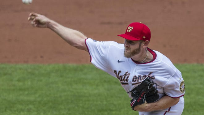 Washington Nationals starting pitcher Stephen Strasburg throws during the second inning of a baseball game against the Baltimore Orioles in Washington, Sunday.