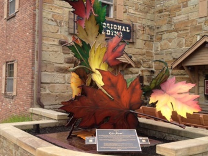Elder Heart, a non-profit veterans group based in Nashville, Ind., created this 18-foot structural steel leaf sculpture, called Soaring, as a piece of public social impact art to draw attention to the 22 veteran suicides daily in the United States. The sculpture, built by local artists, veterans and other volunteers, has 22 leaves. It stands off of the Brown County town's Main Street and was dedicated on July 26 before a crowd of about 200 people.