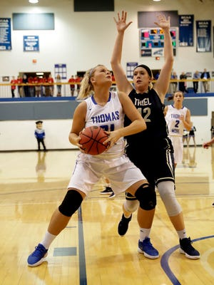 Emily Schultz, a Bishop Brossart graduate, scored 8 points in this 114-51 win over Thiel Nov. 29.
