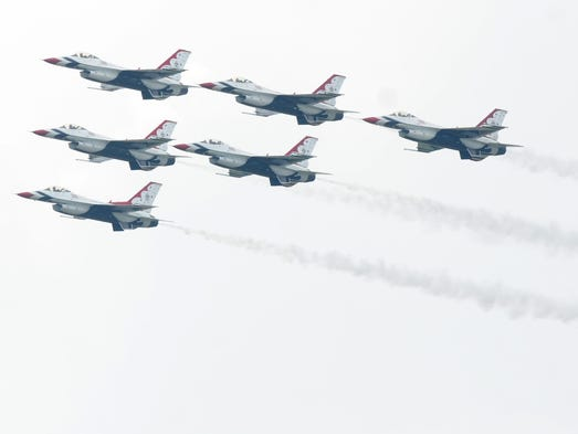 The USAF Thunderbirds arrived for the first time to Oshkosh and AirVenture.  They will be performing on Friday and Saturday during the AirVenture 2014 air shows.