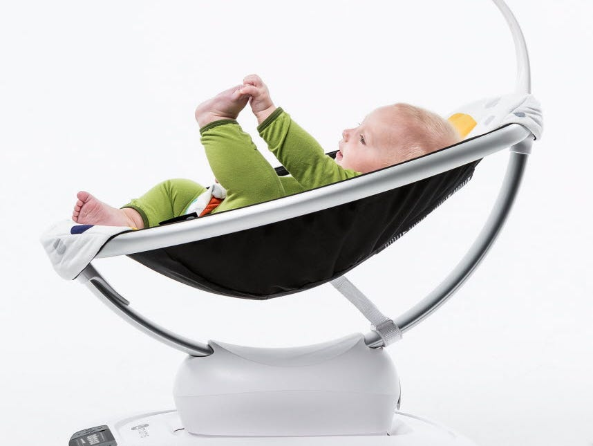 The 4moms mamaRoo infant seat can rock or sway a baby (up to six months old) in one of five patterns. It can mimic a moving car or how mom or dad would hold them while walking. Controlled by an onboard panel or a smartphone app, parents can set the p