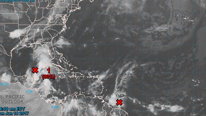 Two tropical storms are forecast to form in the Gulf and the Atlantic this week.
