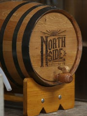 A small barrel of Northside Distilling's clear corn whiskey