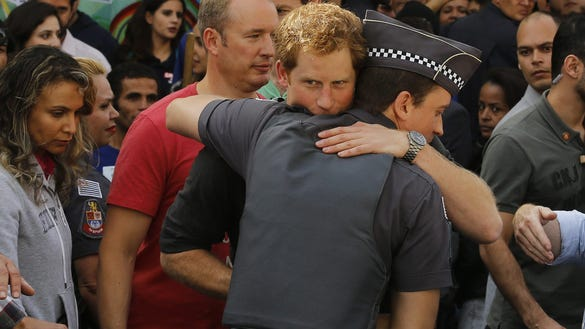 Prince Harry gets hug