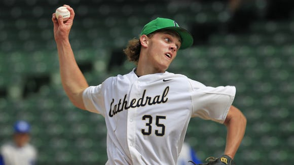 Cathedral pitcher Ashe Russell pitched a no-hitter against Bishop Chatard -- his second consecutive no-hitter to win the city tournament -- as Cathedral defeated the Trojans 10-0 at Victory Field in Indianapolis on May 17. The game ended with Cathedral batting with two outs in the bottom of the sixth when the irish scored their 10th run. It was Cathedral's third city tournament championship in a row and its 10th in 11 years.
