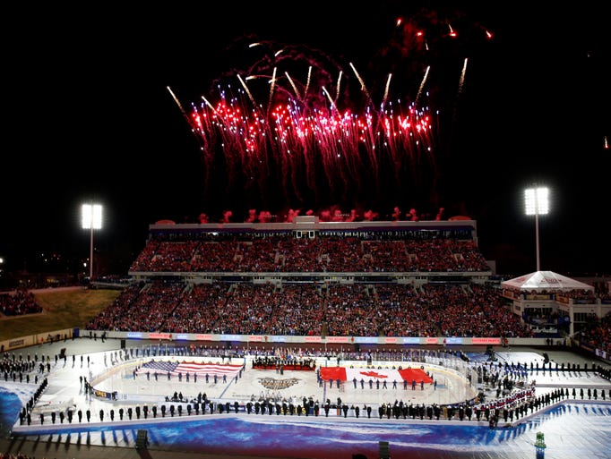 March 3: Fireworks go off before the outdoor game between