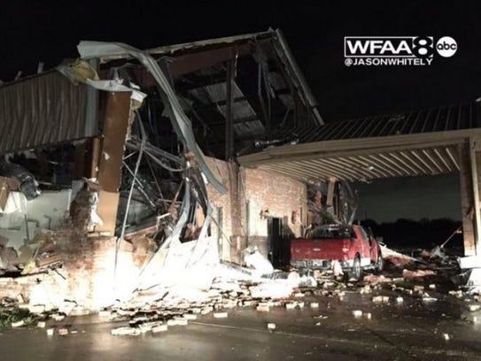 Storm damage in Red Oak, Texas.