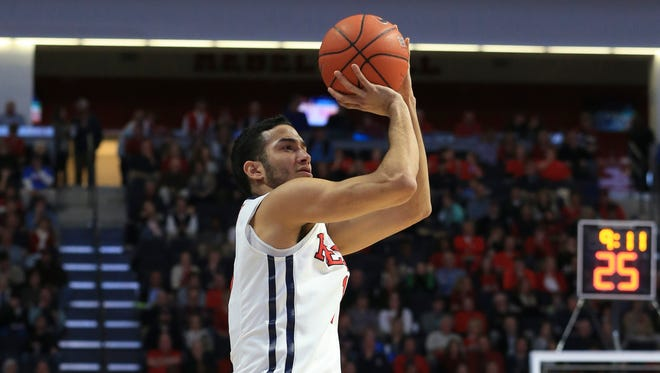 Ole Miss forward Anthony Perez attempts a jump shot in the first half of the Rebels' home game Saturday afternoon against Arkansas.