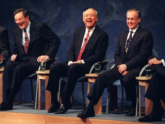 Candidates Steve Forbes, Sen. Phil Gramm, Morry Taylor and Sen. Bob Dole find something to be laugh about after a forum on Jan. 13, 1996.