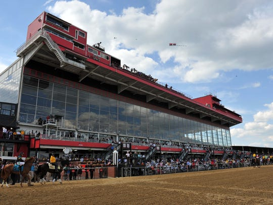 A view of the grandstands before the 139th Preakness