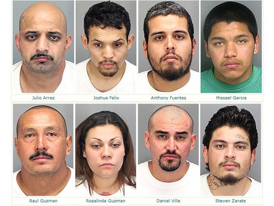 Mugshots of arrests made during the DHS gang sweep.