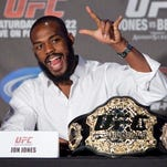 Jon Jones speaks during the UFC 152 pre-fight news conference at the Real Sports Bar and Grill in Toronto on Thursday, Sept. 20, 2012. Jones will be facing Vitor Belfort for the light heavyweight title at the Air Canada Centre on Saturday. (AP Photo/The Canadian Press, Matthew Sherwood)