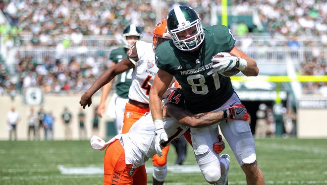 Sep 2, 2017; East Lansing, MI, USA; Michigan State Spartans tight end Matt Sokol (81) runs though a tackle by Bowling Green Falcons defensive back Marcus Milton (14) during the second half of a game at Spartan Stadium. Mandatory Credit: Mike Carter-USA TODAY Sports