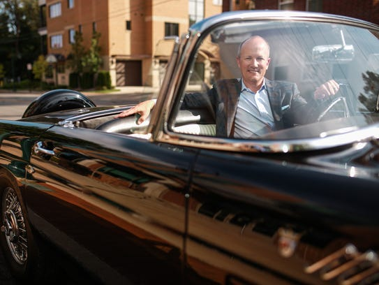 Hagerty CEO McKeel Hagerty sits in his 1956 Ford Thunderbird,