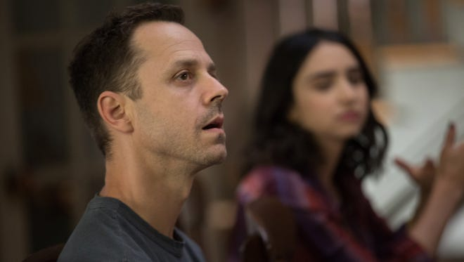 Marius (Giovanni Ribisi) and Carly (Libe Barer) have brunch in Amazon's 'Sneaky Pete,' in a scene filmed in Brooklyn in September.