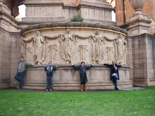 The Jaron family at The Palace of Fine Arts in the