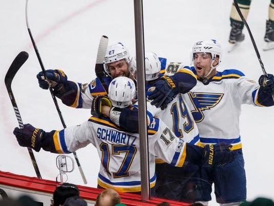 USP NHL: STANLEY CUP PLAYOFFS-ST. LOUIS BLUES AT M S HKN MIN STL USA MN