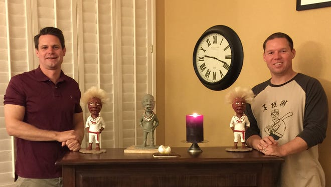 "Nebeker (left) and Suciu (right) brought back Jobu from ""Major League."""