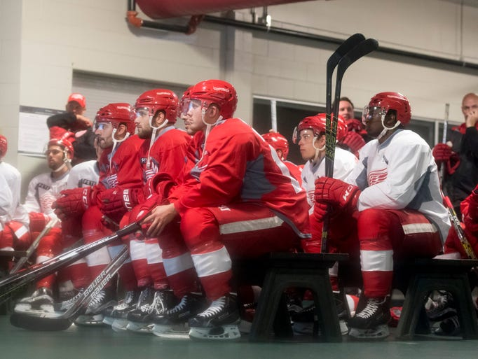 The Red Wings watch video before the beginning of training