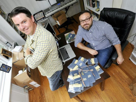 Vito Grippi, right and Gabriel Dunmire are business partners in a company called Story Supply Co. that sells high-end notebooks and pencils for writers and others.