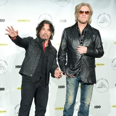 Inductees John Oates (L) and Daryl Hall attend the 29th Annual Rock And Roll Hall Of Fame Induction Ceremony at Barclays Center of Brooklyn on April 10, 2014 in New York City.