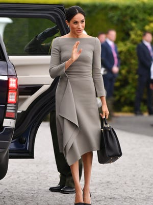 Duchess Meghan of Sussex arrives with Prince Harry to meet Ireland's President Michael Higgins at Aras an Uachtarain, July 11, 2018.