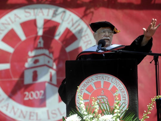 "Joe Mendoza spoke after receiving an honorary doctorate from CSU Channel Islands. He says his mantra is ""helping others, no matter what."""