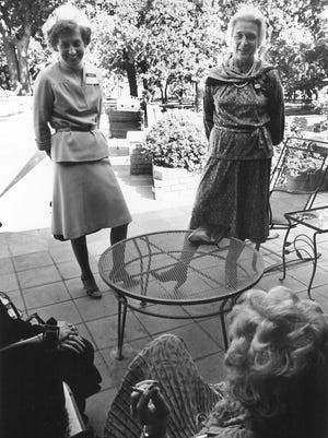Barbara Bush meets with Kathy Webster, of Houston, while visiting Abilene, on Oct. 23, 1979, as a part of the presidential campaign for her husband, George H.W. Bush.