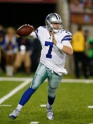 Dallas Cowboys quarterback Cooper Rush (7) looks to