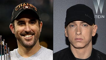 Eminem, Justin Verlander meet backstage at 'Saturday Night Live'
