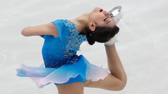 Evgenia Medvedeva, of Russia, skates her short program at the Figure Skating European Championships in Ostrava, Czech Republic, on Jan. 25.