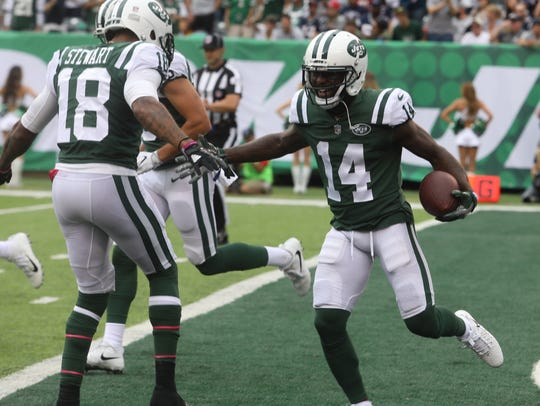 Rookie ArDarius Stewart, left, is inactive, meaning the Jets will need a new kick returner on Sunday. Perhaps it'll be Jeremy Kerley, right.