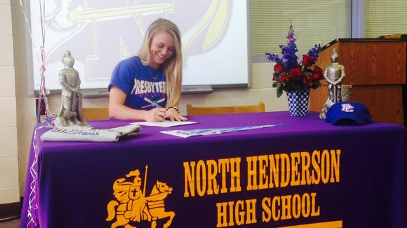North Henderson senior Jonnie Petree has signed to play college softball for Presbyterian.