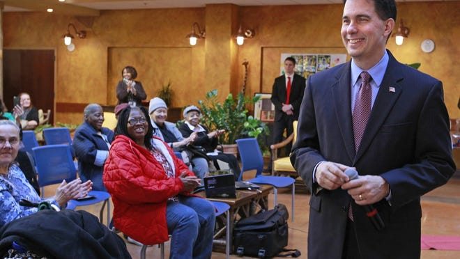 Gov. Scott Walker talks about his budget at St. Ann Center Intergenerational Care in Milwaukee on Feb. 13.