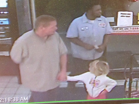 An Amber Alert was issued for missing 4-year-old Rebecca Lewis of Florida, caught on camera with Wild West Hogs (left).