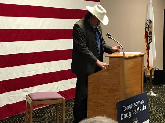 Rep. Doug LaMalfa prepares to address a town hall in Yreka in September 2017.