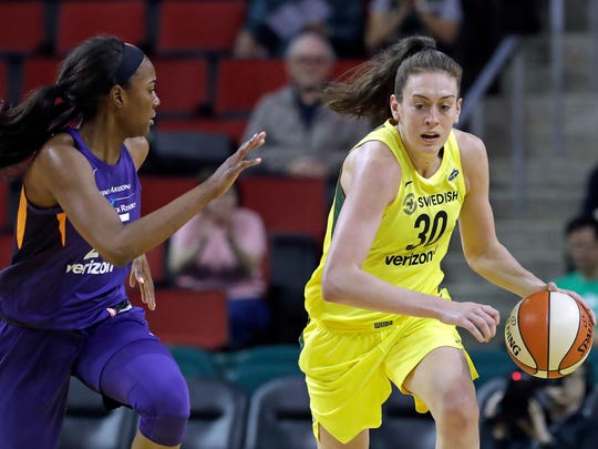 Seattle Storm star Breanna Stewart, right, revealed earlier this year that she was a childhoood victim of sexual abuse. Now she is partnering with RAINN (Rape, Abuse and Incest National Network) to give back and raise awareness.