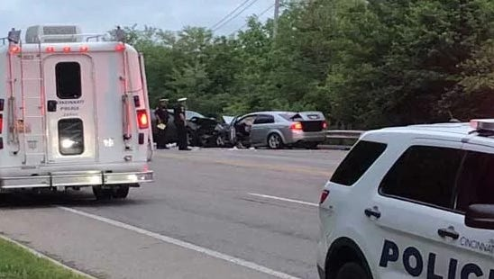 Columbia Parkway was closed Friday morning after a head-on collision.