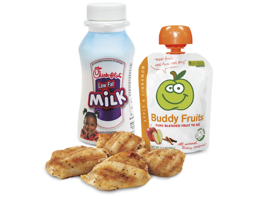 A recent study showed that children and teens take in more calories when dining at fast food and full-service restaurants. Some chains have started offering healthier options, including meals for kids. Chick-fil-A's grilled nuggets, paired with fruit cup and 1 percent milk, have 210 calories and 3 grams of fat. Photo courtesy Chick-fil-A.