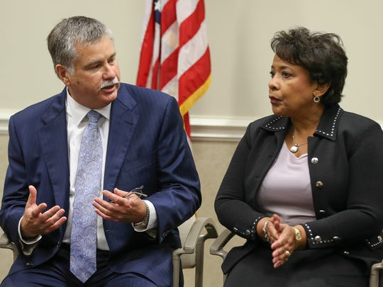 Kerry Harvey, US Attorney for the Eastern District of Kentucky, left, and Attorney General Loretta Lynch speak to USA HEAT (US Attorneys Heroin Education Action Team) comprised of family members who have lost their loved ones to addiction.